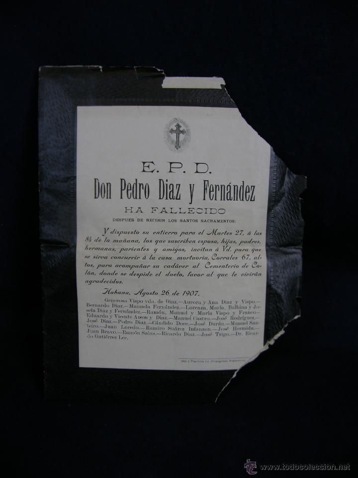 ESQUELA EPD HA FALLECIDO DESPUÉS DE RECIBIR LOS SANTOS SACRAMENTOS HABANA CUBA AGOSTO 1907 (Coleccionismo - Laminas, Programas y Otros Documentos)