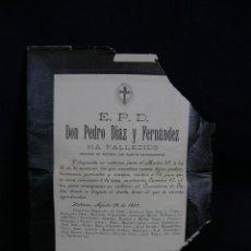 Coleccionismo: ESQUELA EPD HA FALLECIDO DESPUÉS DE RECIBIR LOS SANTOS SACRAMENTOS HABANA CUBA AGOSTO 1907 . Lote 44797797