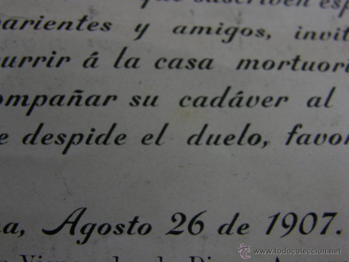 Coleccionismo: esquela EPD ha fallecido después de recibir los santos Sacramentos HAbana Cuba agosto 1907 - Foto 4 - 44797797