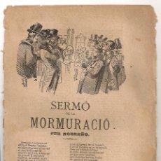 Coleccionismo: SERMO DE LA MORMURACIO / J. ROBREÑO. BCN : TIP. ESPAÑOLA. 22X16CM. 8 P. ROMANÇOS. Lote 44820621