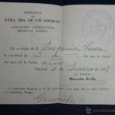 Coleccionismo: RECIBO PARROQUIA NUESTRA SEÑORA DE LOS ÁNGELES ASOCIACIÓN CARMELITAS BENDITAS ANIMAS 1957. Lote 44853942