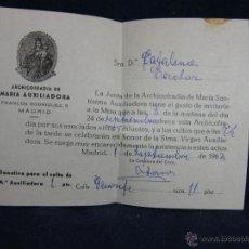 Coleccionismo: RECIBO DONATIVO PARA EL CULTO ARCHICOFRADÍA MARÍA AUXILIADORA MADRID 1969. Lote 44853992