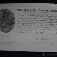 Coleccionismo: DONATIVO PARA EL CULTO ARCHICOFRADÍA MARÍA SANTÍSIMA AUXILIADORA 1954 15 X 10 CM. Lote 44855779