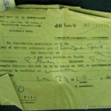 Coleccionismo: RECIBO MINISTERIO DE LA GOBERNACIÓN JUNTA CENTRAL DE TASAS EXACCIONES PARAFISCAL 46 SERIE G 50 PTAS. Lote 45135869