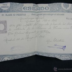Coleccionismo: RECIBO RESGUARDO PAGO IMPORTE SEGUNDO PLAZO MATRICULA ENSEÑANZA 1º CURSO 1911 PAGOS AL ESTADO . Lote 45136067