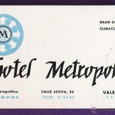 Coleccionismo: TARJETA PUBLICITARIA / COMERCIAL - HOTEL METROPOL - VALENCIA - AÑOS 70 . Lote 45217901