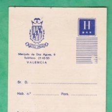 Collectionnisme: TARJETA PUBLICITARIA / HABITACION - HOTEL INGLES - VALENCIA - SIN USAR - AÑOS 70. Lote 45218032