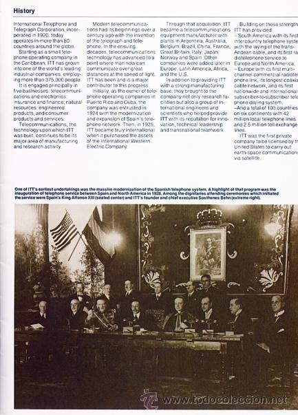 Coleccionismo: Folleto de ITT con foto (de 1928) de inauguración del servicio telefónico entre España y USA - Foto 3 - 45230072