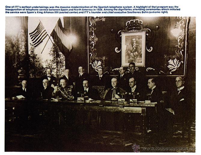 Coleccionismo: Folleto de ITT con foto (de 1928) de inauguración del servicio telefónico entre España y USA - Foto 4 - 45230072