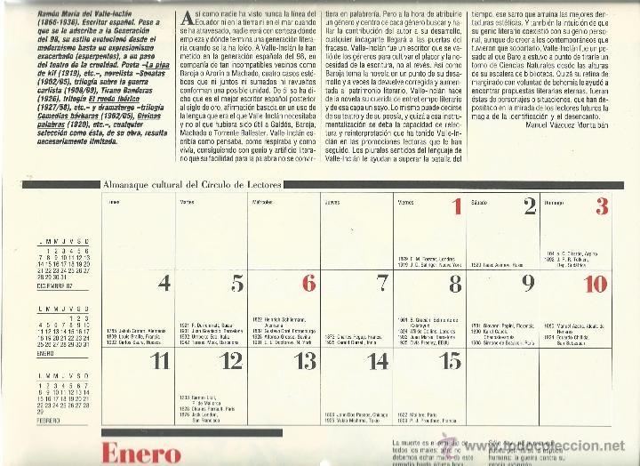 Coleccionismo: ALMANAQUE CULTURAL CON RETRATOS Y BIOGRAFIA DE GRANDES AUTORES NUEVO 1988 - Foto 3 - 45327688