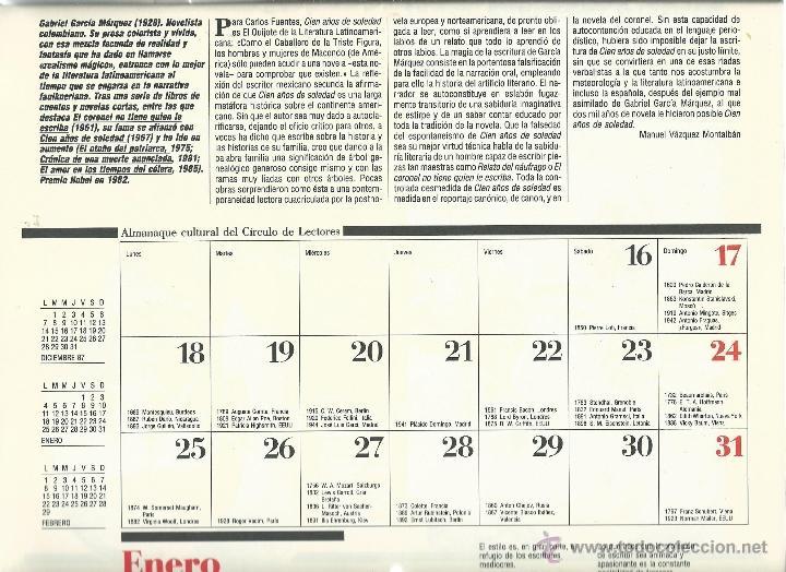 Coleccionismo: ALMANAQUE CULTURAL CON RETRATOS Y BIOGRAFIA DE GRANDES AUTORES NUEVO 1988 - Foto 5 - 45327688