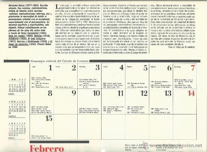 Coleccionismo: ALMANAQUE CULTURAL CON RETRATOS Y BIOGRAFIA DE GRANDES AUTORES NUEVO 1988 - Foto 7 - 45327688