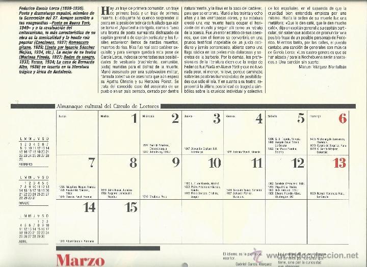 Coleccionismo: ALMANAQUE CULTURAL CON RETRATOS Y BIOGRAFIA DE GRANDES AUTORES NUEVO 1988 - Foto 11 - 45327688