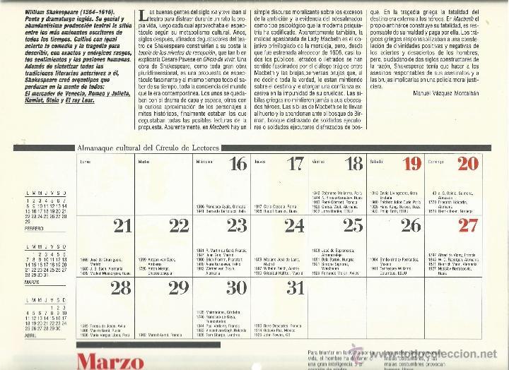Coleccionismo: ALMANAQUE CULTURAL CON RETRATOS Y BIOGRAFIA DE GRANDES AUTORES NUEVO 1988 - Foto 13 - 45327688