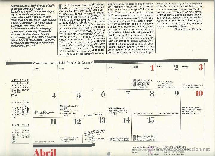 Coleccionismo: ALMANAQUE CULTURAL CON RETRATOS Y BIOGRAFIA DE GRANDES AUTORES NUEVO 1988 - Foto 15 - 45327688