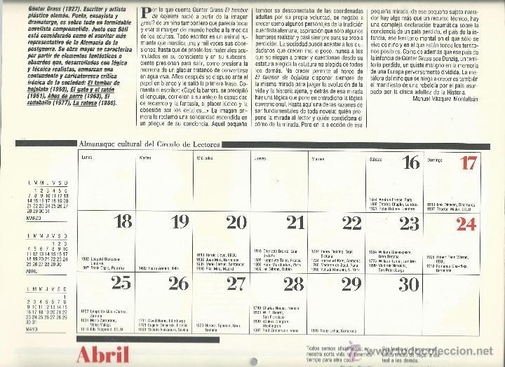 Coleccionismo: ALMANAQUE CULTURAL CON RETRATOS Y BIOGRAFIA DE GRANDES AUTORES NUEVO 1988 - Foto 17 - 45327688