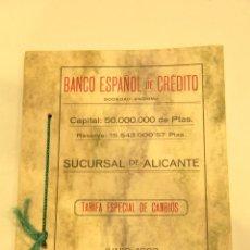 Coleccionismo: BANCO ESPAÑOL DE CREDITO, SUCURSAL DE ALICANTE, 1923. LIBRO ORIGINAL. -DOCC-. Lote 45379791