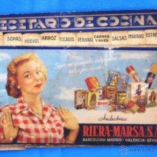 Coleccionismo: RECETARIO DE COCINA. INDUSTRIAS RIERA MARSA.. Lote 45408565
