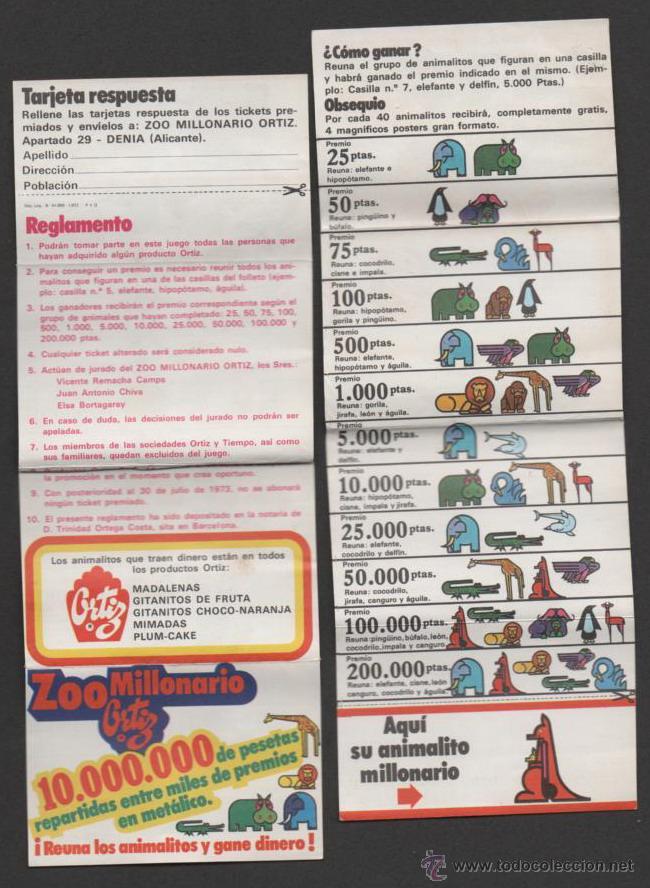 (ALB-TC-17) CUPON RESPUESTA ZOO MILLONARIO ORTIZ CANGURO (Coleccionismo - Laminas, Programas y Otros Documentos)