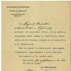 Coleccionismo: COMISION DE ALOJAMIENTOS AYUNTAMIENTO DE BARCELONA 1939. POST GUERRA CIVIL. Lote 45531775