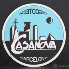 Coleccionismo: POSAVASOS PUBLICITARIO CIRCULAR - DISCOTECA CASANOVA, BARCELONA - 9 CM DIÁMETRO. Lote 45592934
