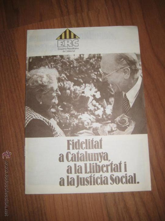 ESQUERRA REPUBLICANA DE CATALUNYA LLIBRET (Coleccionismo - Laminas, Programas y Otros Documentos)