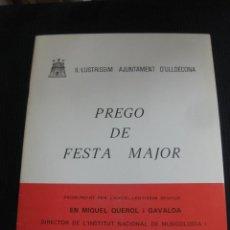 Coleccionismo: PREGO DE FESTA MAJOR D'ULLDECONA. 1977.MIQUEL QUEROL I GAVALDA.SIGNAT.. Lote 45765073