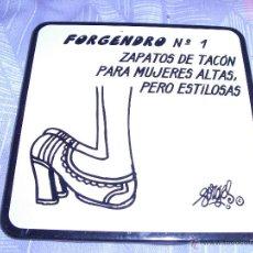 Coleccionismo: FORGES - HUMOR - FORGENDRO Nº 1 - ANTIGUO POSAVASOS - PLASTICO / CORCHO - 9X9 CM. Lote 46224550