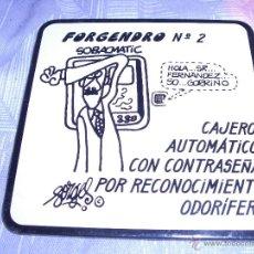 Coleccionismo: FORGES - HUMOR - FORGENDRO Nº 2 - ANTIGUO POSAVASOS - PLASTICO / CORCHO - 9X9 CM. Lote 46224587