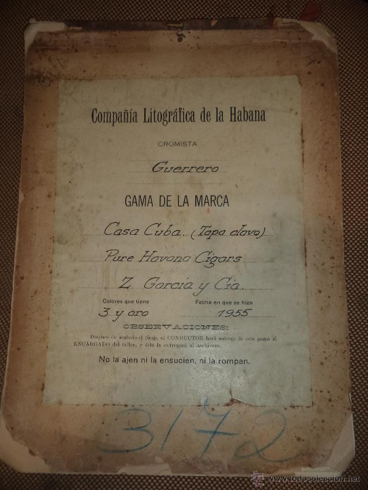 LITOGRAFICA Y VISTA FINAL DE LA MARCA CASA CUBA. 1955. CROMISTA GUERRERO. LEER (Coleccionismo - Objetos para Fumar - Otros)