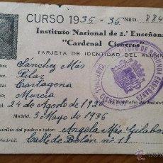 Coleccionismo: ANTIGUO CARNET INSTITUTO CARDENAL CISNEROS 2ª ENSEÑANZA LIBRE ESCOLAR MURCIA 1935. Lote 46330023