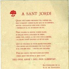 Coleccionismo: A SANT JORDI (SAN JORGE) DIADA 1920 ELS CAVALLERS DE LA O.S. DE CATALUNYA 12,5 X 16 CM (APROX). Lote 46448064