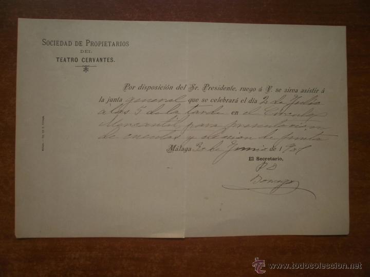 INVITACION SOCIEDAD DE PROPIETARIOS DEL TEATRO CERVANTES MALAGA AÑO 1901 FIRMA JOSE RUIZ BORREGO (Coleccionismo - Laminas, Programas y Otros Documentos)
