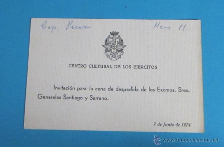 Tarjeta Invitación Cena Despedida De Los Excmos Sres Generales Santiago Y Serrano