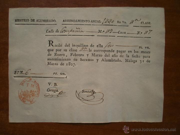 ARBITRIO DE ALUMBRADO ARRENDAMIENTO ANUAL CALLE COMPAÑIA MALAGA 1827 SERENOS Y ALUMBRADO 6 REALES (Coleccionismo - Laminas, Programas y Otros Documentos)