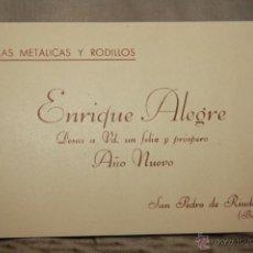 Coleccionismo: ENRIQUE ALEGRE, FELICITACIÓN NAVIDAD. TELAS METALICAS Y RODILLOS. SAN PEDRO DE RIUDEVITLLES. -DOCC-. Lote 46763402