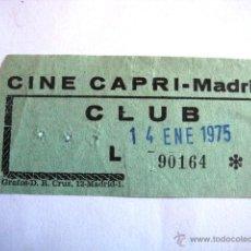 Collectionnisme: ENTRADA CINE CAPRI. MADRID 1975. ENVIO INCLUIDO.. Lote 47115763