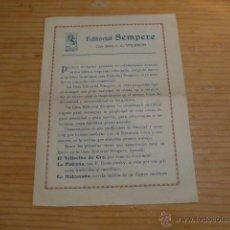 Coleccionismo: ANTIGUO PAPEL EDITORIAL SEMPERE DE VALENCIA. PRINCIPIOS S.XX. Lote 47116067