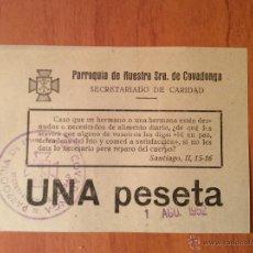Coleccionismo: BOLETO O PAPELETA DE CARIDAD PARROQUIA NUESTRA SRA. DE COVADONGA 1952. Lote 47169421