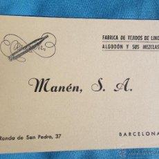 Coleccionismo: ANTIGUA TARJETA COMERCIAL FABRICA DE TEJIDOS DE LINO BARCELONA . Lote 47285439