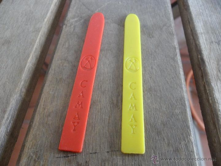 Coleccionismo: 2 PALOS DE HELADOS EN PLASTICO HELADO CAMAY ROJO Y AMARILLO - Foto 2 - 47301598