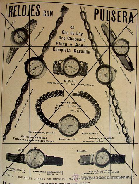 (1910-1919) RELOJES CON PULSERA ORO-CARNE LIQUIDA DR. VALDES.LLOBET MARTORELL BARCELONA (Coleccionismo - Laminas, Programas y Otros Documentos)