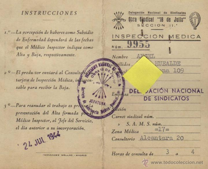 carnet inspeccion medica falange fe de las jons - Comprar Documentos ...