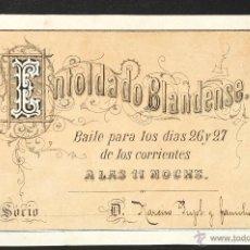 Coleccionismo: INVITACION SOCIO PARA BAILE ENTOLDADO BLANDENSE. Lote 47553774