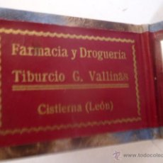 Coleccionismo: ESPEJO PUBLIDAD FARMACIA DROGUERIA TIBURCIO ,CISTIERNA LEON. Lote 188722872
