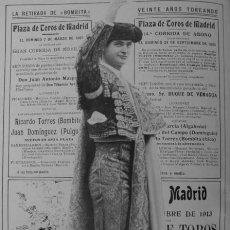 Coleccionismo: PPIOS. 1900-RICARDO TORRES BOMBITA CARTEL-RETIRADA DESPEDIDA-FOT KAULAK-GERENTE PLAZA TOROS VALENCIA. Lote 47595087