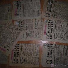 Coleccionismo: LOTE 12 PERIODICOS ANTIGUOS ISLA CRISTINA HUIELVA LA HIGUERITA 1947 CON SELLO NUMEROS CONSECUTIVOS. Lote 42624888