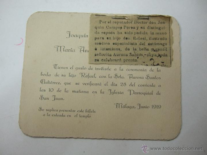 Tarjeta Invitacion De Boda Reseña En Prensa Malaga 1919