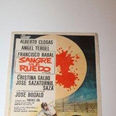 Coleccionismo: PROGRAMA TAMAÑO POSTAL DE CINE. SANGRE EN EL RUEDO. FRANCISCO RABAL. ALBERTO CLOSAS, ÁNGEL TERUEL. . Lote 47931940