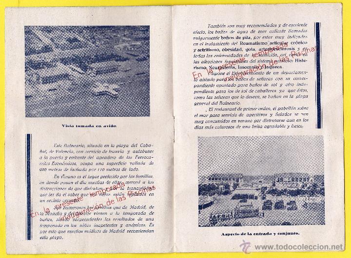 Coleccionismo: FOLLETO PUBLICITARIO DEL BALNEARIO LAS ARENAS. PLAYA DEL CABAÑAL, VALENCIA, 1934. - Foto 2 - 48617001